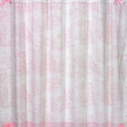 Sweet Jojo Designs - Sweet Jojo Designs Pink French Toile Shower Curtain - You'll have the prettiest bathroom in town with this pink-and-white shower curtain from Sweet JoJo Designs. The French toile pattern and bow accents combine to create a charmingly feminine look,and this curtain is made of machine-washable cotton.