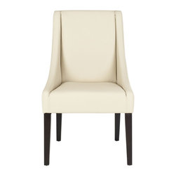 Safavieh - Safavieh Britannia Kd Side Chairs X-2TES-A2074RCM - The clean lines and gracefully sloped arms of the cream-colored leather clad Britannia, with legs in an espresso finish, dress up any dining setting. Legs are crafted from sturdy birch wood and the upholstered seat and backrest ensure comfort.