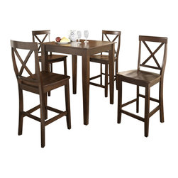 Crosley Furniture - 5 Pc Pub Dining Set w Tapered Leg and X-Back - Includes Pub Table and 4 Stools in Vintage Mahogany. Solid Hardwood & Veneer Construction Table . Solid Hardwood Stools. Hand Rubbed, Multi-Step Finish. Solid Hardwood Tapered Legs. Shaped Back for Comfort. Table Dimensions: 36 in. H x 32 in. W x 32 in. D. Stool Dimensions: 40 in. H x 18.5 in. W x 22.5 in. DConstucted of solid hardwood and wood veneers, the 5 piece Pub / High Dining set is built to last. Whether you are looking for dining for four, or just a great addition to the basement or bar area, this set is sure to add a touch of style to any area of your home.