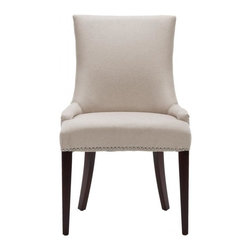 Safavieh - Meryl Chair - The Meryl Chair features a dressed up elegance without being stuffy, so it's a perfect companion for country homes, city apartments or formal manors. The taupe linen-clad Meryl Chair, with cherry mahogany finished legs, features a high back, sloped arms and exposed nail heads.