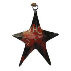 Foreign Affairs Home Decor - STAR -  Recycled Oil Drum Ornament - Beautiful hanging ornament STAR made from recycled oil drums. Each item is unique due to the oild drums used.
