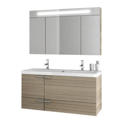ACF - 47 Inch Larch Canapa Bathroom Vanity Set - Need a bathroom vanity? This one is a wall contemporary bath vanity that will fit perfectly into your contemporary personal bath.