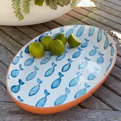 Blue Fish Oval Platter