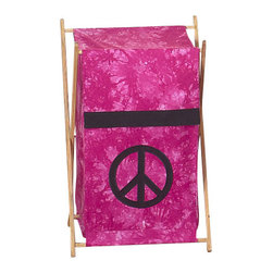 "Sweet Jojo Designs - Pink Peace Hamper - The Pink Peace Hamper by Sweet Jojo Designs will add a designers touch to any childs room. This childrens laundry clothes hamper has a wooden frame, mesh liner, and a fabric cover.The removable hamper body is secured to the wooden frame with corner loops and Velcro. The wooden stand folds flat for space-saving storage and the removable mesh liner is great for toting laundry.Dimensions: 15.5"" Length x 16"" Width x 26.5"" Height.If you like the Pink Peace Hamper Hamper, dont forget to check out the other items in the collection."