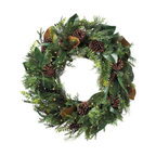 """Grandin Road - Cordless Amesbury Wreath - Each piece features lifelike pine, realistic magnolia, and a variety of natural pinecones. Lit with warm white LED lights. Urn filler design incorporates a sprinkling of natural twigs and is mounted upon an 8""""H foam base. All other pieces are built upon grapevine bases. Door swag is designed to hang above your door, for a framed, arched look. Adorn, wrap, festoon, or drape our Cordless Amesbury Collection anywhere you like; the battery-operated brilliance of warm LED lights makes it a cinch to set up, without having to plug it in. What's more? This graceful assortment may be the prettiest and most sophisticated sight you'll see hanging on (or around) your own front door.  .  .  .  .  . To display window swags, simply close the satin ribbon in your window . Mailbox swag attaches with an included elastic strap and plastic clasp . Each is equipped with a 6-hour timer . For display indoors or out . Each requires two C batteries (not included) ."""