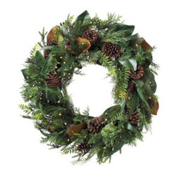 """Grandin Road - Cordless Amesbury Wreath - Each piece features lifelike pine, realistic magnolia, and a variety of natural pinecones. Lit with warm white LED lights. Urn filler design incorporates a sprinkling of natural twigs and is mounted upon an 8""""H foam base. All other pieces are built upon grapevine bases. Door swag is designed to hang above your door, for a framed, arched look. Adorn, wrap, festoon, or drape our Cordless Amesbury Collection anywhere you like; the battery-operated brilliance of warm LED lights makes it a cinch to set up, without having to plug it in. What's more? This graceful assortment may be the prettiest and most sophisticated sight you'll see hanging on (or around) your own front door.  .  .  .  .  . To display window swags, simply close the satin ribbon in your window . Mailbox swag attaches with an included elastic strap and plastic clasp . Each is equipped with a 6-hour timer . For display indoors or out . Each requires three C batteries (not included) . Shaping is required to achieve a full and lifelike look."""