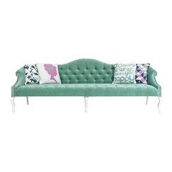 Mademoiselle Sofa in Aqua Velvet - Graceful curves, and chic tufted upholstery accented by glossy white legs and shiny chrome nail head trim... Our lovely Mademoiselle sofa adds a touch of Hollywood Regency style glamor to any space.