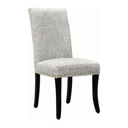 None - Ash Grey Nailhead Accented Side Chairs (Set of 2) - Guests will be impressed by your refined taste when you seat them in these upholstered dining side chairs that have a sturdy wooden frame. This set of two chairs features ash gray upholstery that is accented by nail-head trim for added beauty.