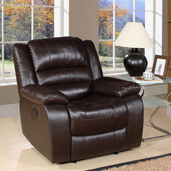 Ashlyn Collection Top Grain Italian Dark Brown Leather Recliner