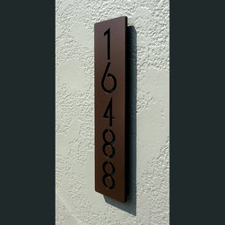 Address Plaques - Custom Euro Style Floating House Numbers Vertical in Powder Coated Aluminum