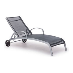 Grandin Road - Casam Lounge Chair - Curved mesh lounger is perfect on the patio or poolside. Rust-resistant aluminum frame. Durable polyester mesh seat is UV and water resistant. Adjustable seat back and curved armrests. Easily portable, with rear wheels and front lower bar. Sit back and take in the scenery from a curved, classic lounge. Back wheels make it a cinch to move around the deck or patio. Mesh surfaces allow for airflow, and an adjustable back delivers a customized angle. Grab your sun hat and a novel, and run outside.. . . . . Arrives assembled. Clean frame with a dry cloth; seat, with a damp cloth and mild fabric cleaner . Imported.