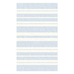 Custom Cool - Hamptons Stripe Rug 3X5 Cotton Kilim Light Blue & Cream - The Hampton Stripe pattern is paired with the softness of pale blue and cream creating a rug that is pleasing to the eye and easy to live with. Hand stitched binding and slightly irregular edges give this rug a casual and relaxed feel.  Hand crafted by master weavers utilizing techniques passed on through the ages, this stonewashed Cotton Kilim rug has a casual sophistication and informal charm.