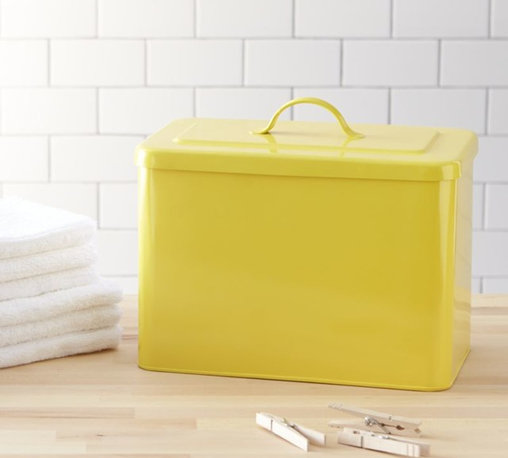 Rectangular Yellow Bin With Lid - Here is a dose of yellow that may help brighten the dreary cold months. I have a similar bin that I use for cleaning the cat litter. I love it.