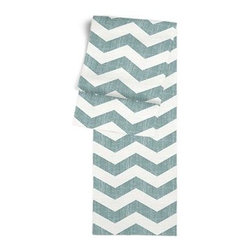 Aqua & White Chevron Custom Table Runner - Get ready to dine in style with your new Simple Table Runner. With clean rolled edges and hundreds of fabrics to choose from, it's the perfect centerpiece to the well set table. We love it in this graphic chevron in a washed aqua blue and ivory on lightweight linen that adds a punch of color to the contemporary home.