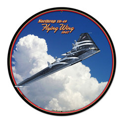 Past Time Signs - Flying Wing Round Metal Sign 28 x 28 Inches - - Width: 28 Inches