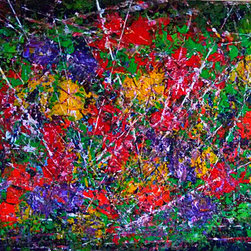 Garden Dreams - There's extra texture in this painting. The flowers are full of bright and cheerful color. The white lines give it sparkle and movement. I use acrylic paint and palette knife for this heavy textured painting.
