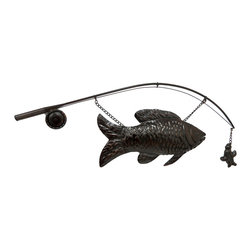 Zeckos - Large Metal Catch of the Day Fish and Pole Decorative Wall Sculpture - This amazing wall sculpture features a fishing pole, the 'catch of the day', and a lure to bring the walls of your living room, porch, patio or garden wall to life This 36.75 inch (93 cm) long, 16 inch (41 cm) high, 1.25 inch (3 cm) deep detail metal sculpture boasts a rustic reddish brown finish that complements most decor, and is great for a 'man cave', a lake-house or lodge themed homes, and makes a wonderful gift for any angler in your life