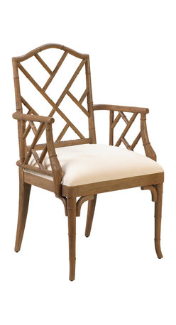 French Heritage - Moselle Arm Chair, Smokehouse - East meets west when Chippendale goes bamboo. Armchair is crafted of carved wood to look like bamboo. Makes a knockout accent item as well. Available as a side chair also. - Weight: 32lbs