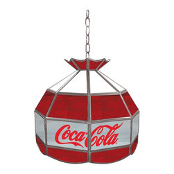 Trademark Global - Coca-Cola Glass Lamp in Red White & Gray - 3 ft. Hanging chain included. Bulb not included. Single bulb style (max. 100 watt). Pull chain. On & Off switch. 10 ft. Power cord (110 volt) with 3 Prong plug. Handmade with stained glass. 16 in. L x 16 in. W x 16 in. H (15 lbs.)This Coca Cola Officially Licensed 16 inch Stained Glass Tiffany Lamp is the perfect gift for the great American cola fan in your life. Great for gifts and recreation decor.