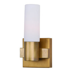 Joshua Marshal - One Light Natural Aged Brass Bathroom Sconce - One Light Natural Aged Brass Bathroom Sconce