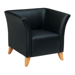 Office Star - Leather Club Chair in Black with Maple Finish - Made of Leather/Wood. Thick Padded Seat and Back. Black Leather. Maple Finish Legs. Pictured in Maple/Wood. Some assembly required. Back Dimension: 33 in. W x 24.8 in. H x 7.9 in. T. Seat Dimension: 20.7 in. W x 21.3 in. D x 3 in. T. Overall Dimension: 35.4 in. W x 30.5 in. L x 30.7 in. H