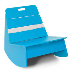 Loll Designs - Loll Designs Sky Blue Racer Rocker Chair - This low rocking chair has a funky modern style and vivid sky blue color with a bright white stripe that makes it stand out in a room or on a deck. A handle on the backrest of the side chair makes it easy to move around with the arrangement of your outdoor space, and its casual structure brings cheerful simplicity to a patio or deck. Bright, bold, youthful - this rocker is a fun piece to accent your contemporary decor.  As a member of the 1% for the planet organization, Loll Design donates 1% of its gross sales to a worldwide network of environmental organizations. Crafted from recycled plasticDurable and weather-resistant for outdoor useEasy assemblyMade in the USAShips in 6 weeks