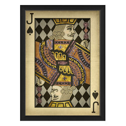 """The Artwork Factory - """"Jack of Spades"""" Print - This one-eyed Jack will add some wild fun to your full house. It's a high quality print on acid-free paper and comes framed and ready to hang. Put on your poker face, raise the stakes, and add a little fun to your knights and days."""