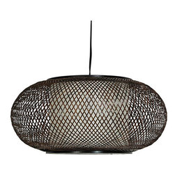 Japanese-Style 15-Inch Kata Ceiling Lantern - This Japanese-style ceiling lantern will add the perfect atmosphere to any room.