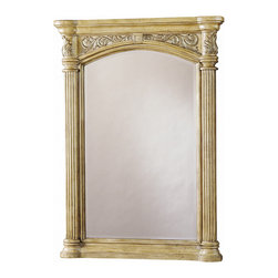 Ambella Home - Provincial Single Mirror - Light - This mirror boasts fluted front corners in an antique parchment finish and is a perfect complement to the Provincial Collection - Light.   Imported.