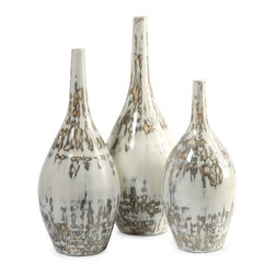 iMax - Hampton Mexican Pottery Vases, Set of 3 - The Hampton Mexican pottery vases have traditional clay bodies and look great in a variety of room settings.