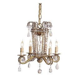 Currey and Company - Serendipity Mini Chandelier - A design skillfully crafted in wrought iron that is embellished and enhanced with the addition of fine crystal beading. Its size and proportions make it especially appealing.