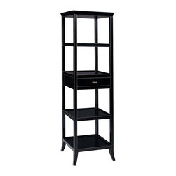 Bailey Street - Tamara Ebony Finish Display Tower w Drawer & 4 Shelves - Removable serving tray. One drawer. Two shelves. Serves as bar or room divider. Made from plantation grown hardwoods and other wood products. 20 in. W x 20 in. D x 72 in. H