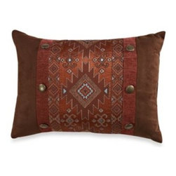 Veratex, Inc./bedding Div. - Pueblo Boudoir Toss Pillow - Southwestern inspiration. Rich shades of brown, orange and brick red are accented with turquoise on Pueblo, a soft chenille comforter set from Veratex bedding to transform your bedroom into a rustic, southwest inspired retreat.