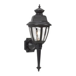 Seagull - Seagull Belmar Outdoor Wall Mount Light Fixture in Black - Shown in picture: 88090-12 One Light Outdoor Wall Lantern in Black Finish in Black finish