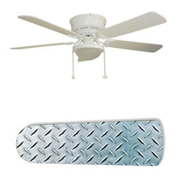 "Diamond Plate Garage Shop Den 52"" Ceiling Fan with Lamp - This is a brand new 52-inch 5-blade ceiling fan with a dome light kit and designer blades and will be shipped in original box. It is white with a flushmount design and is adjustable for downrods if needed. This fan features 3-speed reversible airflow for energy efficiency all year long. Comes with Light kit and complete installation/assembly instructions. The blades are easy to clean using a damp-not wet cloth. The design is on one side only/opposite side is bleached oak. Made using environmentally friendly, non-toxic products. This is not a licensed product, but is made with fully licensed products. Note: Fan comes with custom blades only."