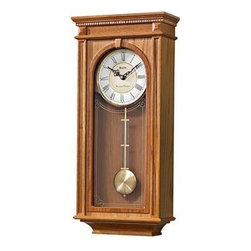BULOVA - Bulova Manorcourt Oak Wall Clock Model C4419 - This oak wall clock features