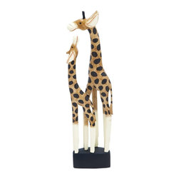 """Benzara - Giraffe with Bright Colors and Remodeled Acute Textures - Giraffe with Bright Colors and Remodeled Acute Textures. Stylish and elegant, wood Giraffe with Bright Colors and Remodeled Acute Textures will add elegance to your interiors. It is sure to revitalize your interior settings with a dash of modernity that will bring a distinct chirpiness to your room with this wooden giraffe show piece. It comes with following dimensions: 8"""" W x 4"""" D x 32"""" H."""