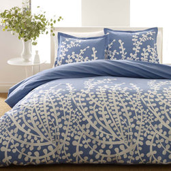 City Scene - City Scene Branches French Blue 3-piece Duvet Set - Vibrant color and a posh pattern make this contemporary Blue Duvet set a luxurious bedding ensemble. Made of 100 percent cotton and featuring a modern branch motif,this set of one duvet cover and two pillows shams is comfortable and stylish.