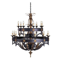 Currey and Company - Camelot Two Tier Chandelier - Not for the faint of heart, this large scale chandelier is impressive with not only its size, but also its bold masculine appearance. The hammered steel bands are dressed up with details finished in Gold Leaf.