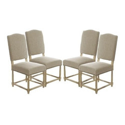 The Gallery - Set of 4 Empire Parsons Upholstered Side Dining Chairs - Originally designed to seat kings, This gorgoues chair is upholstered with natural linen and stunning oak legs. This comfortable chair is perfect for any dining room.