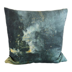 Poetic Pillow - James Whistler Nocturne Pillow - Transform any space with a pillow from Poetic Pillow. Each pillow is inspired by fine works of art and printed on the front and back.   Covers are made of pre-shrunk satin-like polyester fabric. All seams are finished to prevent fraying and pillow covers have a knife edge finish.. A concealed zipper allows for ease of inputting pillow inserts.  A duck feather insert is included for soft yet supportive feel.  Cushion inserts are encased in a cotton cover and filled with 100% duck feather.  All research, design and packaging is completed in Oakland, California.