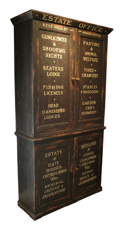 Kathy Kuo Home - Edinburgh Estate Office Antique Black Cabinet - Organize your life. You may not run an old English estate, but this antique reproduction will help you manage your own surroundings. With generous storage and decorative text, this vintage charmer is both practical and unique.