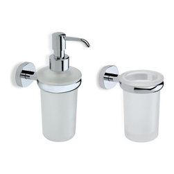 StilHaus - Chrome Toothbrush Tumbler And Soap Dispenser Accessory Set - .