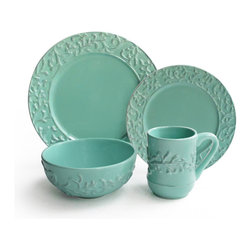 American Atelier - Waverly Savory Teal 16-piece Dinner Set - Enjoy this 16-piece stoneware dinner set from American Atelier offering service for four. Bring a pop of color to your table with this casual, teal 16-piece dinnerware set including matching dinner plates, salads plates, bowls, and mugs.