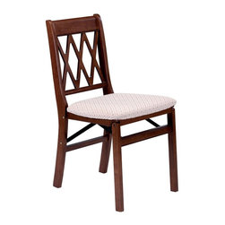 Stakmore - Lattice Back Folding Chair in Warm Cherry Fin - Set of 2. Traditional style. Classic criss-cross decorative back. Steel folding mechanism. Padded upholstered seat. Folds up to 7 in. deep for storage. Made from solid hardwood. No assembly required. 19.25 in. W x 16.5 in. D x 33 in. H. Seat height: 18.75 in.