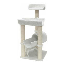 "Majestic Pet Products - 44"" Bungalow - Sherpa - Majestic Pet Products 44"" Casita Cat Tree is covered in elegant honey colored Faux Fur with Sisal Rope wrapped posts that will withstand the toughest claws. This beautiful playground features a ground level tunnel second story tunnel/perch along with a third story resting perch and 4th story lookout perch or afternoon napper. Our"" Casita Cat Tree assembles in minutes with simple step by step instructions and tools provided."