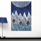 My Wonderful Walls - Luna and the Blue Ridge Mountains Wall Decal - Ethereal Art by Elise Mahan, Smal - - Product:   mountains and moon wall decal