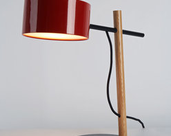 Excel Desk Lamp - Red - Spare and economical in form, Excel is a family of fixtures made from simple, elegant structures with illuminated shades. Inspired by the colorful lines and charts of the software program by the same name, the full Excel family includes the table lamp, wall sconce, floor lamp and chandelier. By Rich Brilliant Willing for Roll & Hill. Photo credit: Joseph de Leo