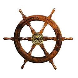 Benzara - Wood Brass Shipolystonewheel Nautical Wall Decor - Wood Brass Shipolystonewheel is an excellent anytime low priced nautical wall decor upgrade option that is high in modern age decor fashion.