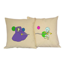 RoomCraft - Set of 2 Space Adventure Throw Pillows - 16x16 Natural - FEATURES: